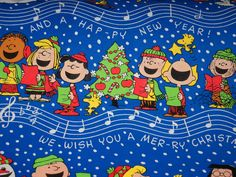 Peanuts Gang Blue Background Gift Wrapping Paper 2 Yards FOLDED Decoupage