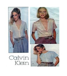 CALVIN KLEIN, Vogue 1878, Womens Blouse, Sewing Pattern, Button front, Shawl Collar, Short Sleeve, V Neckline Shirt, Top, Size 14, UNCUT by FindCraftyPatterns on Etsy