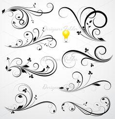 Swirls Vector Mini Bundle by TrueMitra Designs on Creative Market Body Art Tattoos, New Tattoos, Swirl Tattoo, Damask Decor, Quilled Creations, Motif Floral, Swirl Pattern, Swirl Design, Swirls
