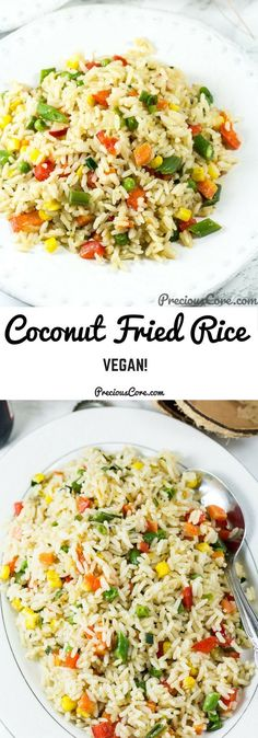 Coconut Fried Rice is pure fried rice epicness. Make this for dinner or for parties/potlucks. The rice is cooked in coconut milk then stir-fried in coconut oil. Perfectly coconutty and vegan! Get the recipe on preciouscore,com. #Coconut #DinnerRecipes #Vegan