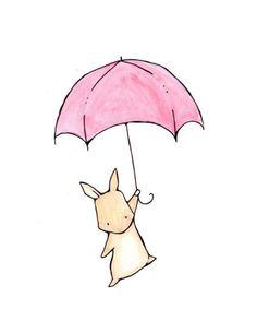 cute bunny watercolor illustration