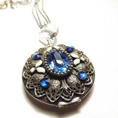 """Large Locket Charm Necklace - Recycled Vintage Chandelier Crystal - 36"""" Stainless Steel Bead Chain Long Necklace"""