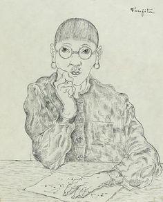 Self-Portrait sketch - Tsuguharu Foujita