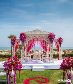 Weddings are a celebratory occasion which brings together two families. Confused whether to decorate your wedding mandap using florals or lights? We have curated a list with some awe-inspiring Wedding Mandap decor inspirations we know you'll love. Wedding Hall Decorations, Desi Wedding Decor, Marriage Decoration, Wedding Mandap, Wedding Ceremony, Wedding Receptions, Wedding Boquette, Beach Decorations, Wedding Ideas