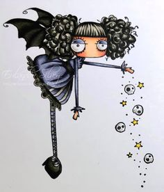 I just love the new Stamping Bella Oddball line! This is from the first release a few months ago and now there are even more! Halloween Drawings, Halloween Cards, Doodle People, Diy And Crafts, Arts And Crafts, Birthday Cards For Boys, Copic Sketch, Junk Art, Textiles
