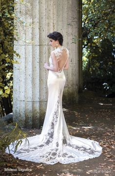 Maison Signore 2015 Wedding Dresses, lace, applique, backless, sleeveless, high neck, train, silk, satin, charmeuse