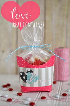 Come and see how this cute French Fry container was made to be used for a Valentine's Day Treat Container at www.thehappyscraps.com