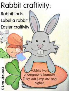 Easter Bunny science craftivity. Teach: Rabbit facts & parts of a rabbit. English-Spanish