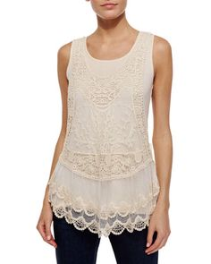 Lace Racerback Tank, Soft Oat by Design History at Neiman Marcus Last Call.