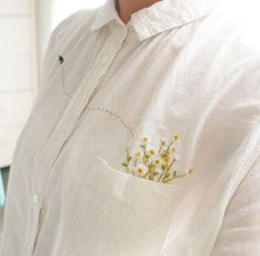 Pocket full of Flowers ~ Freestyle Embroidery added to Top Pocket ....