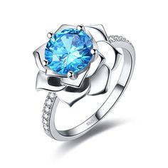 Yeinos Womens 925 Sterling Silver Created Blue Topaz Stud Earrings