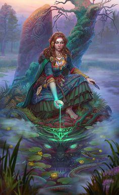 f Druid Lake deciduous forest swamp Natalia Isaicheva Fantasy Kunst, Fantasy Rpg, Fantasy Artwork, Fantasy World, Dark Fantasy, Fantasy Witch, Character Concept, Character Art, Concept Art