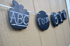 School Style Apple Chalkboard Banner by   WestCoastChalker on etsy