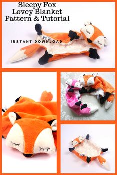 Sleepy Fox Lovey Blanket Pattern and Instructions | This fox blanket can be made with minky, fleece, or flannel fabric. This blanket would make the perfect gift for fox or woodland themed baby nursery and baby shower! #ad #fox #lovey #babyblanket #sewingpattern #woodlandanimals #babyshowergift