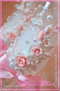 Декор предметов Украшение Свадьба Лепка Набор свадебных аксессуаров Бусины Ленты Пластика фото 3
