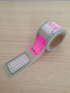 Washi tape with pink labels