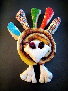 Cute sweet roll Turkey for the kids