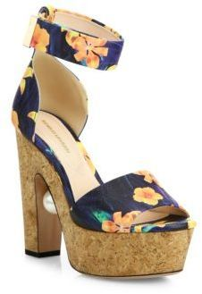 73a499d848 Nicholas Kirkwood Maya Pearly Heel Flower-Print Leather Platform Sandals -  ShopStyle
