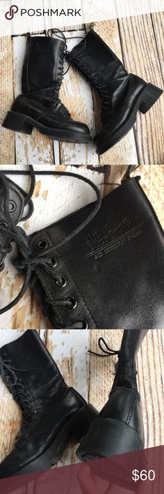 "Dr. Martens black leather motto combat boots Dr. Martens black leather motto combat lace up boots with air cushion soles and oil resistant. Size is not marked but my Roomate with a size 6 said they would fit a 5.5 and even a size 5 with some thick socks.  🌵Bundle deals available. I carry various sizes/brands. 🌵No trades, holds, or modeling. 🌵All reasonable offers accepted only through ""offer"" button. No lowball offers please. Please submit final offer willing to pay as I prefer to not…"