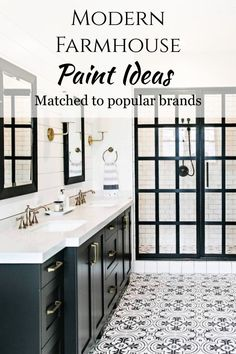 Modern Farmhouse / Paint Ideas / Bathroom two tone accent cabinets and trim