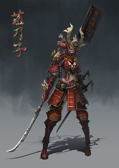 samurai, Anima 08 on ArtStation at https://www.artstation.com/artwork/samurai-295d94df-e41e-4406-bdaa-3506a8fea851 Oni Samurai, Female Samurai Art, Fantasy Samurai, Samurai Concept, Fantasy Armor, Samurai Drawing, Ninjas, Ninja Armor, Female Ninja