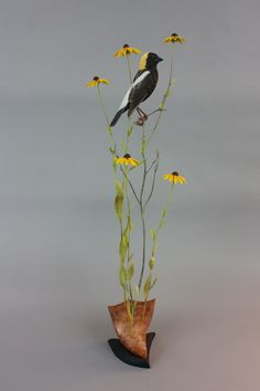 Bobolink Created using tupelo wood and acrylic paint. Artist:  Gilles Prud'homme
