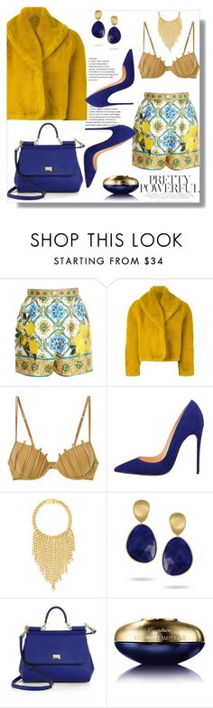 """Mustered"" by jady-martinez ❤ liked on Polyvore featuring Dolce&Gabbana, Jean-Paul Gaultier, La Perla, Eklexic, Marco Bicego and Guerlain"