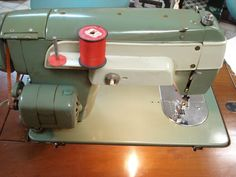 Vtg 1961 New Home Sewing Machine 370 Japan w Wood Stradivario Cabinet w XTRAS | eBay