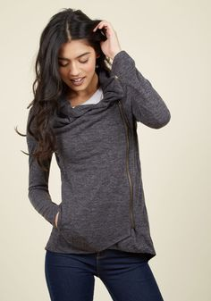 Airport Greeting Cardigan in Charcoal in S, #ModCloth