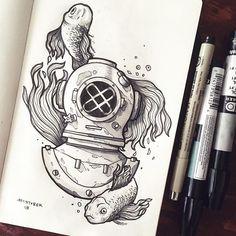 #inktober 13. El buzo. #inktobermexico #charringo #sketch #diver #fish #drawing #moleskine