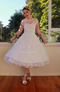 "1950's ""Lacey"" White Wedding Dress with Lace Overlay, Sweetheart Neckline, Tea Length Skirt and Petticoat - Custom made to fit. $345.00 NZD, $282.07 USD, via Etsy."