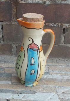 aceto o olio kännchen ceramica in Colorido con tappo di sughero