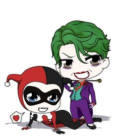 Chibi Harley & Joker by Mibu-no-ookami Harley Quinn Tattoo, Joker Und Harley Quinn, Catwoman, Batgirl, Joker Batman, Joker Chibi, Chibi Marvel, Arkham City, Harey Quinn