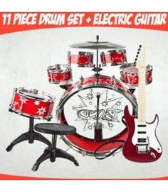 (Red) Electronic Kids Hot Rock Guitar w/ 4 Different rhythms, Great Quality 23 Inches Long + Kids Boy Girl Drum Set Musical Instrument Toy Blue Playset Instrument Craft, Toy Musical Instruments, Music For Toddlers, Kids Electronics, Baby Music, Sound Of Music, Playing Guitar, Music Stuff, Drums