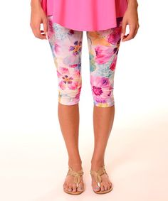 Look what I found on #zulily! Purple Floral Capri Leggings - Plus by Lbisse #zulilyfinds
