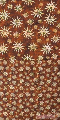 Lovely tribal design with cream colored suns in different sizes tossed onto a rich brown background, batik style. It's a beautiful design for all kinds of fun sewing projects., very high quality fabric, typical great quality from the USA #Cotton #USAFabrics Tribal Sun, Retro Fabric, Sewing Projects, Quilts, Tossed, Brown, Cotton, Cream, Beautiful