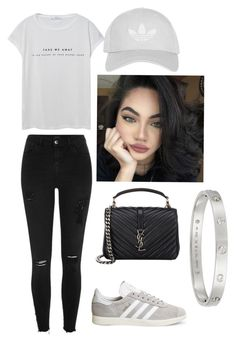"""Untitled #31"" by beccamichellegb ❤ liked on Polyvore featuring Topshop, River Island, adidas, MANGO, Yves Saint Laurent, Cartier, shoes, grey, gazelles and instagrambaddie"