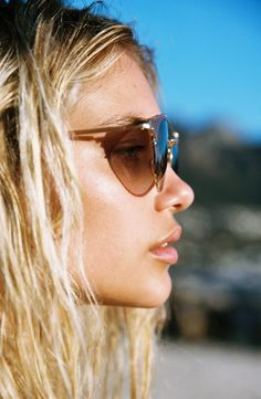 AMUSE X D'BLANC |  The Dosed (Marquis) Sunglasses in Polished Quartz. Danika Pienaar photographed by Cameron Hammond in South Africa.