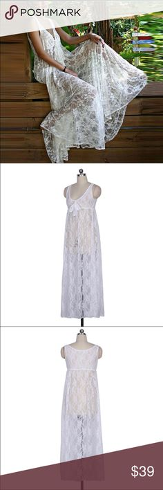 💕LAST ONE! New boho lace maxi coverup dress New in package condition. One size. White lace maxi dress. Loose bohemian style. Sleeveless. Cinched empire waist. Measures approximately Bust 31.5-39.5, Length 51 Swim Coverups