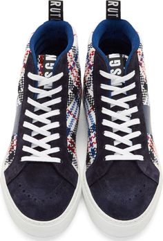 MSGM Navy Woven Plaid High-Top Sneakers