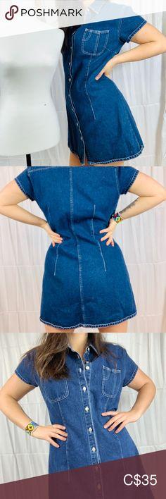 🔥Little Denim Dress Denim Dresses, Denim Skirt, Plus Fashion, Fashion Tips, Fashion Trends, Little Dresses, Blue Denim, Bell Bottom Jeans, Fit Women