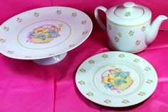 Vintage Cake Stand and Teapot Dessert Dishes by Dupasseaupresent