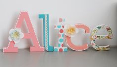 Free standing letter name Hand painted and by LoudFairyNL on Etsy