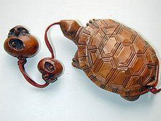 turtle inro, netsuke and ojime