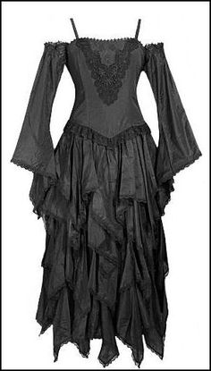 Robe gothique romantique en taftas noir