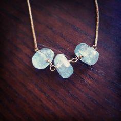 Triple aquamarine chunk necklace. So dainty!