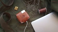 """Holly Monkey natural veg tan leather Macbook retina 13"""" charger case"""