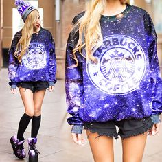 Romwe Starbucks Coffee Sweatshirt In Galaxy Print