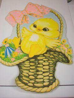 3 VINTAGE EASTER Die-cut Ducklings Baskets Beistle Springtime