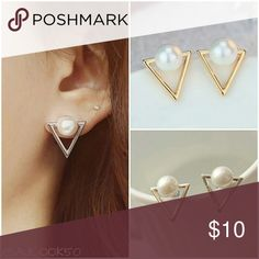 ☘Sale B1G1 Free• Dainty Triangle Pearl Earrings Dainty triangle pearl earrings  Material: Zinc Alloy  Colors: Gold and Silver  ☘St. Patty's Week Sale!☘ ☘Mix and match any $10 Jewelry, buy 1 get 1 free!☘ (Use the bundle offer feature for 2 different jewelry if you want 2 under the same listing let me know and I will make you a special bundle.) *Not eligible for bundle discount* Jewelry Earrings
